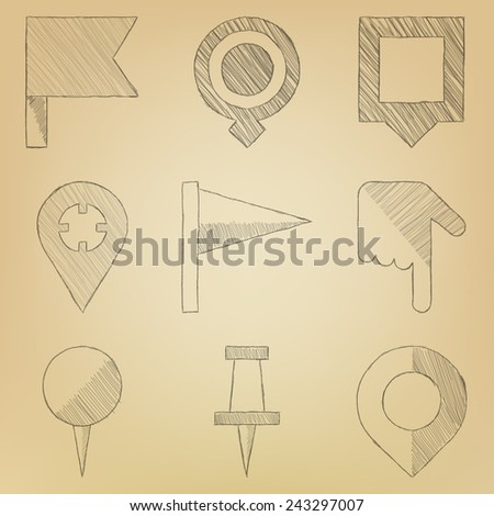 Sketch icon set. Push pin map - stock vector