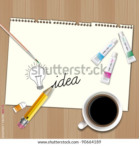Sketch idea for blank paper with coffee and water color - stock vector