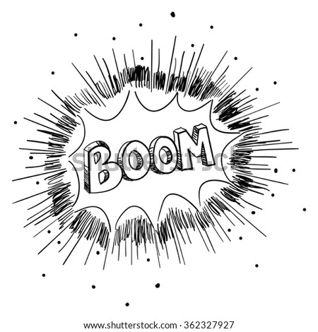 Sketch illustration of a comic explosion - stock vector