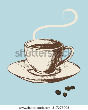 Sketch illustration of a cup of coffee in vintage colour style - stock vector