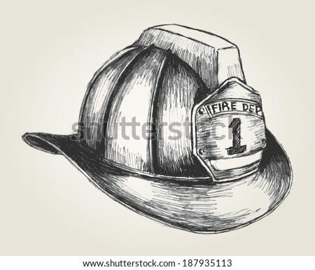 Sketch illustration of a firefighter helmet - stock vector