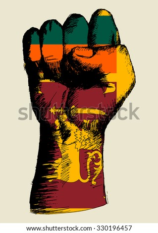 Sketch illustration of a fist with Sri Lanka insignia - stock vector