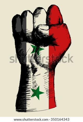 Sketch illustration of a fist with Syria insignia - stock vector