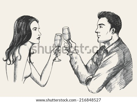 Sketch illustration of a man and woman toasting - stock vector