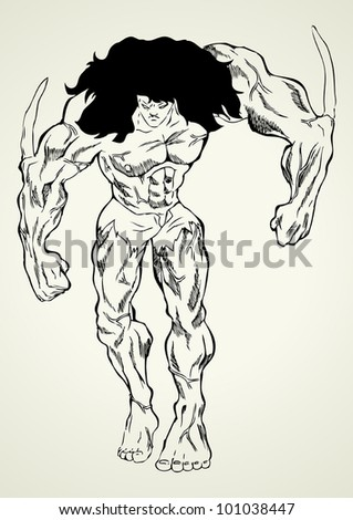Sketch illustration of a mutant - stock vector