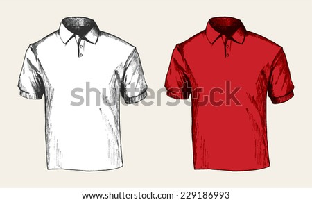 Sketch illustration of a white and red polo shirt  - stock vector