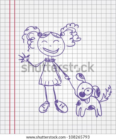 Sketch illustration of girl and dog - stock vector