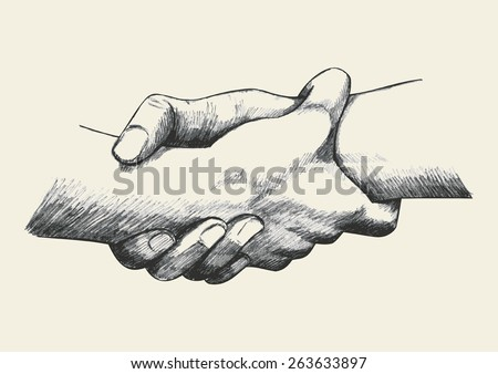 Sketch illustration of two hands holding each other strongly - stock vector