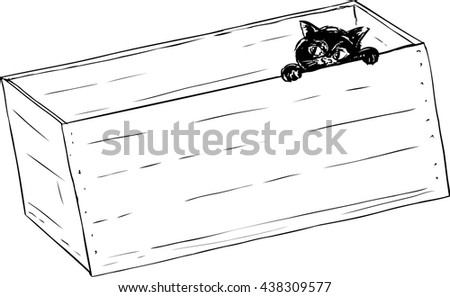 Sketch illustration outline of adorable little kitten peeking from inside of wooden crate - stock vector