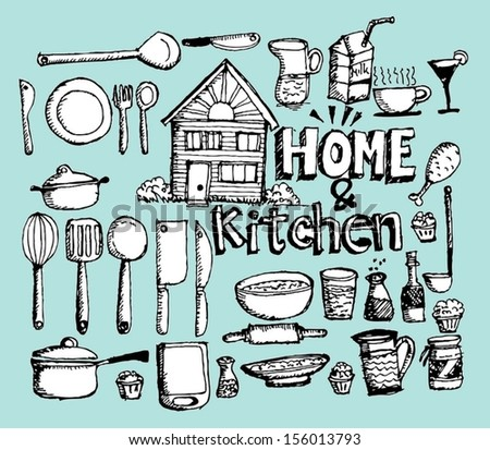 sketch Kitchen elements doodle vector - stock vector