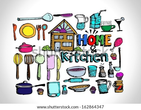 sketch Kitchen elements doodle vector  - stock vector
