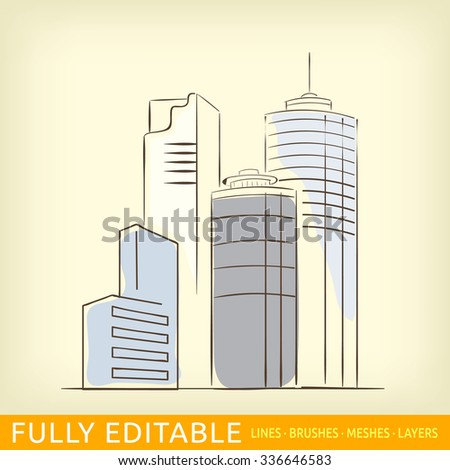 Sketch line flat design of business city architecture, commercial building. Modern vector illustration concept, isolated on old paper background. - stock vector