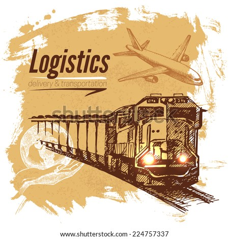 Sketch logistics and delivery background. Hand drawn vector illustration - stock vector