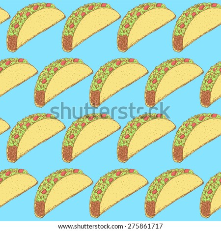 Sketch mexican taco in vintage style, vector seamless pattern - stock vector