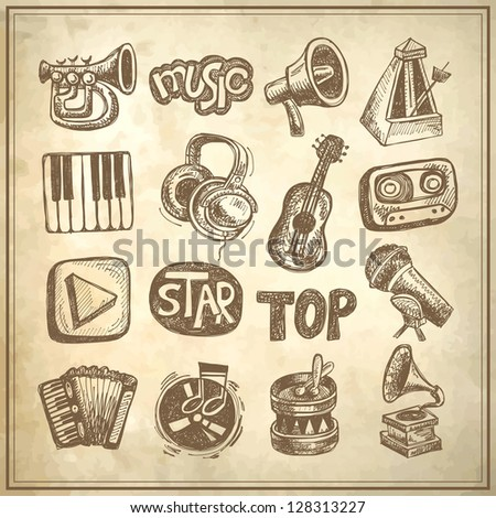 sketch music icon element collection on grunge background - stock vector