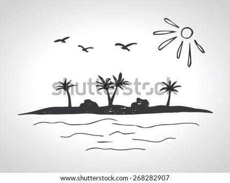 sketch of a desert island - stock vector
