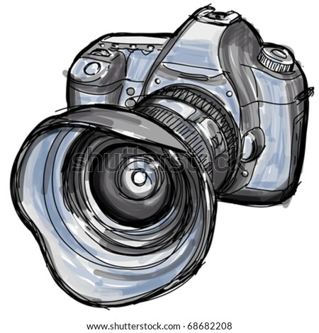 Sketch of a modern digital photo camera - stock vector