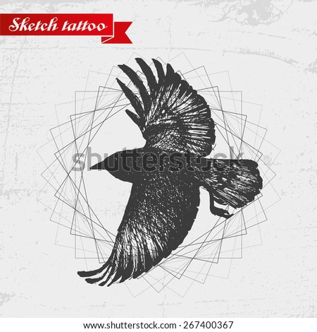 Sketch of a raven. Can be used to tattoo the logo. - stock vector