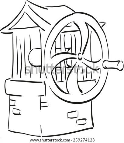 Sketch of a well outside the town.  - stock vector