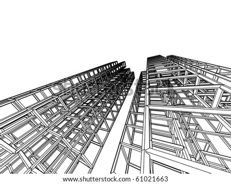 sketch of an abstract architecture - stock vector