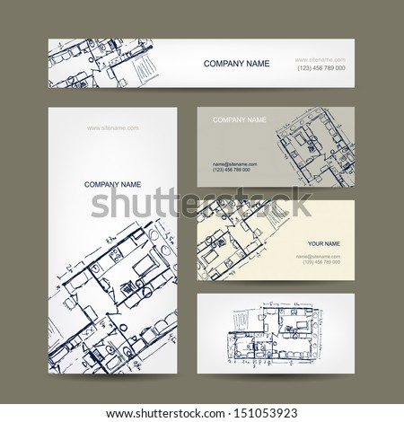 Sketch of apartment. Business cards for your design. - stock vector