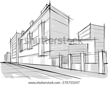 Sketch of Architecture. city. Buildings - stock vector
