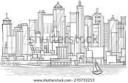 Sketch of Architecture. city landscape. Tall Buildings - stock vector