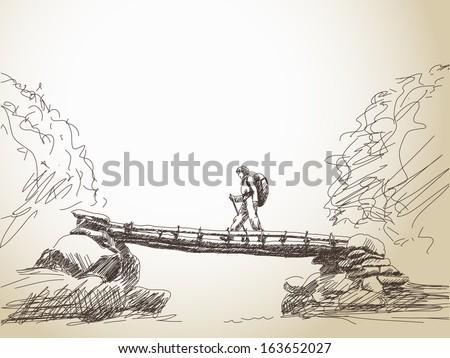 Sketch of bridge crossing river with trekking woman Vector - stock vector