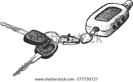 sketch of car keys with remote control, hand drawn vector illustration - stock vector