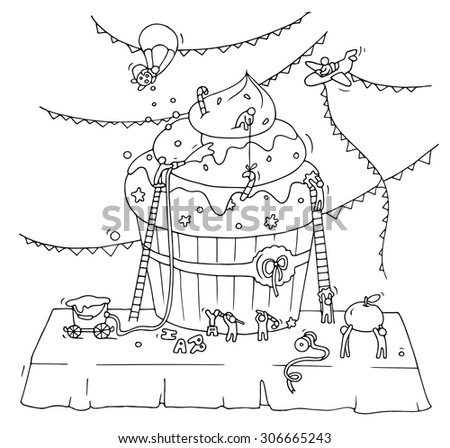 Sketch of cooking work with working little people, cupcake, garland.Doodle cute miniature of baking muffin, preparing for the holiday. Hand drawn vector illustration for menu design isolated on white. - stock vector