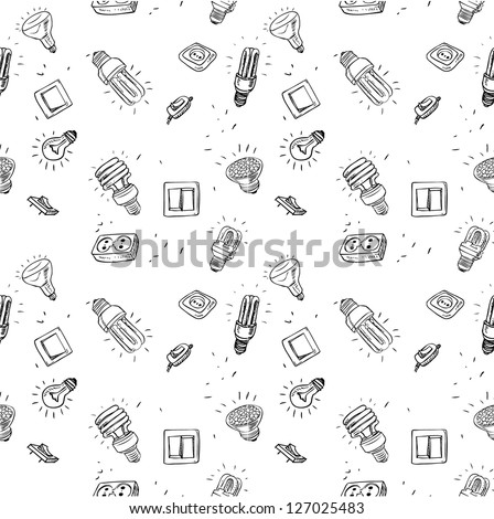 Sketch of different light bulbs switches and sockets, seamless background - stock vector