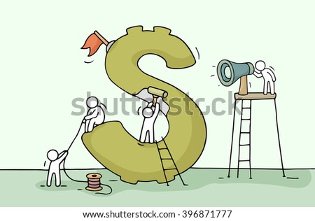 Sketch of dollar sign with working little people. Doodle cute miniature of construction green dollar and preparing for the big profit. Hand drawn cartoon vector illustration for business design. - stock vector