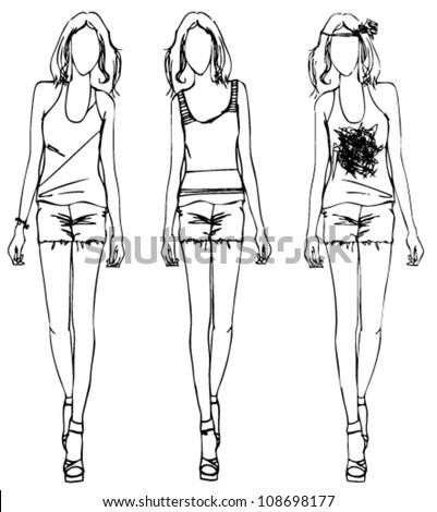 Sketch of fashion girl dress flower style - stock vector