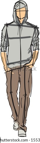 Sketch of fashion man - vector - stock vector