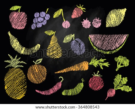 Sketch of flat fruits and vegetables hand drawn with chalks on blackboard. Vector illustration - stock vector