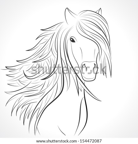 Sketch of horse head with flying mane on white background. Vector illustration for your animal background. Beautiful, thick and rich hair of horse. - stock vector