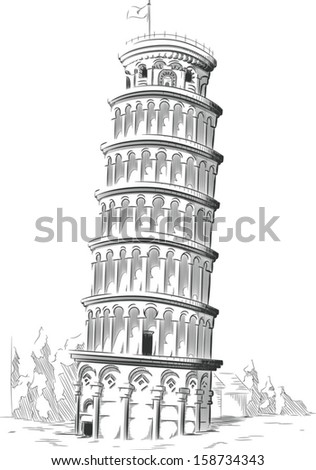 Sketch of Italy Landmark - Leaning Tower of Pisa - stock vector