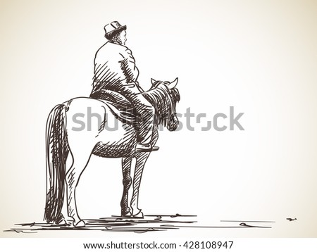 Sketch of kyrgyz man sitting on horse, Hand drawn illustration - stock vector