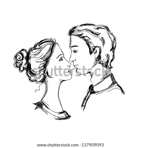Sketch of loving couple. Man and woman are looking at each other and going to kiss - stock vector