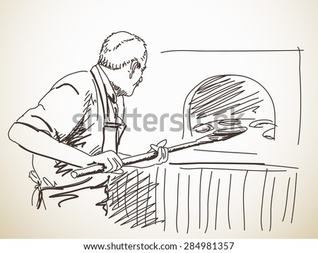 Sketch of man, baking a bread, Hand drawn illustration - stock vector