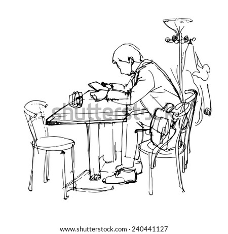 sketch of  man with the tablet in a cafe - stock vector