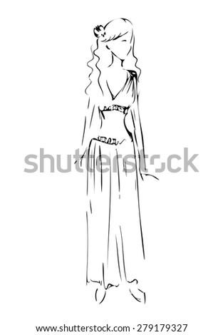 Sketch of model in greece style. - stock vector