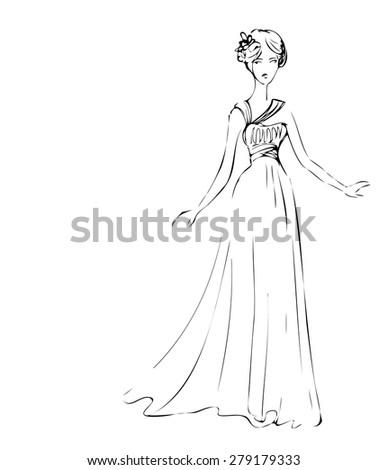 Sketch of model in long dress. - stock vector