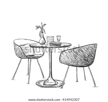 Sketch of modern interior table and chairs. Hand drawn furniture - stock vector