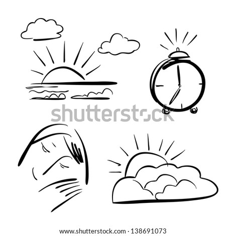 Sketch of Morning icons - stock vector