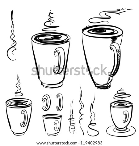 Sketch of mugs - stock vector