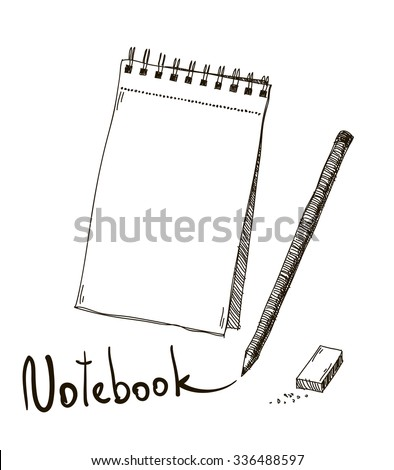 Sketch of notebook with pencil and eraser, vector - stock vector