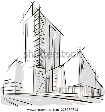 Sketch of office building - stock vector