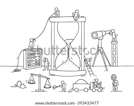 Sketch of sandglass construction with working little people, sand, spyglass. Doodle cute miniature of teamwork and deadline. Hand drawn cartoon vector illustration for business design and infographic. - stock vector