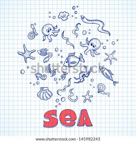 Sketch of sea life elements. Eps10 vector illustration - stock vector